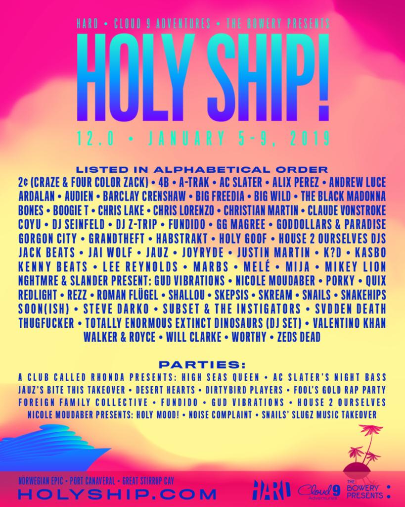 holy ship lineup
