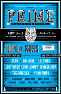 Prime Music Festival 2018 Lineup Announcement for East Lansing Michigan