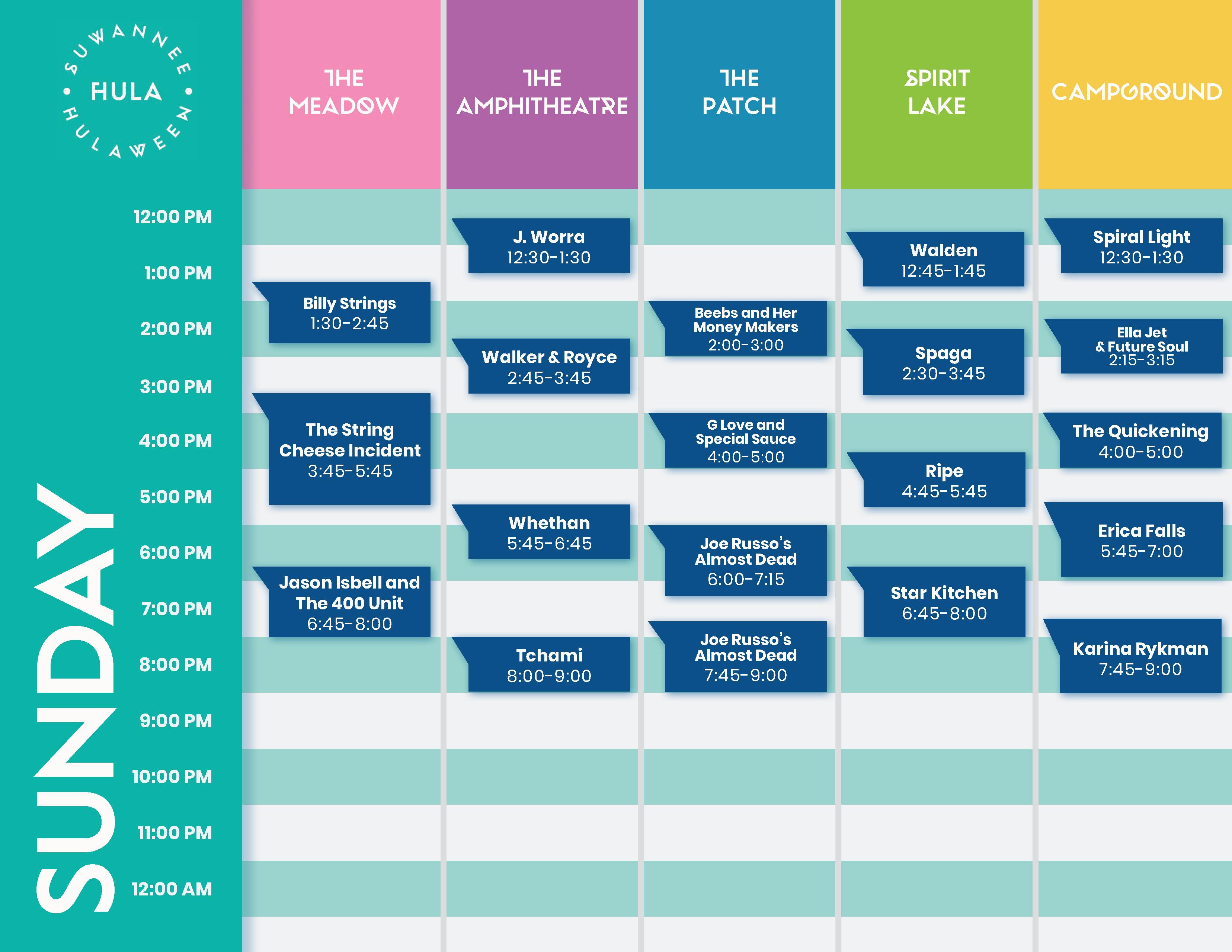 Suwannee Hulaween 2019 Sunday Lineup