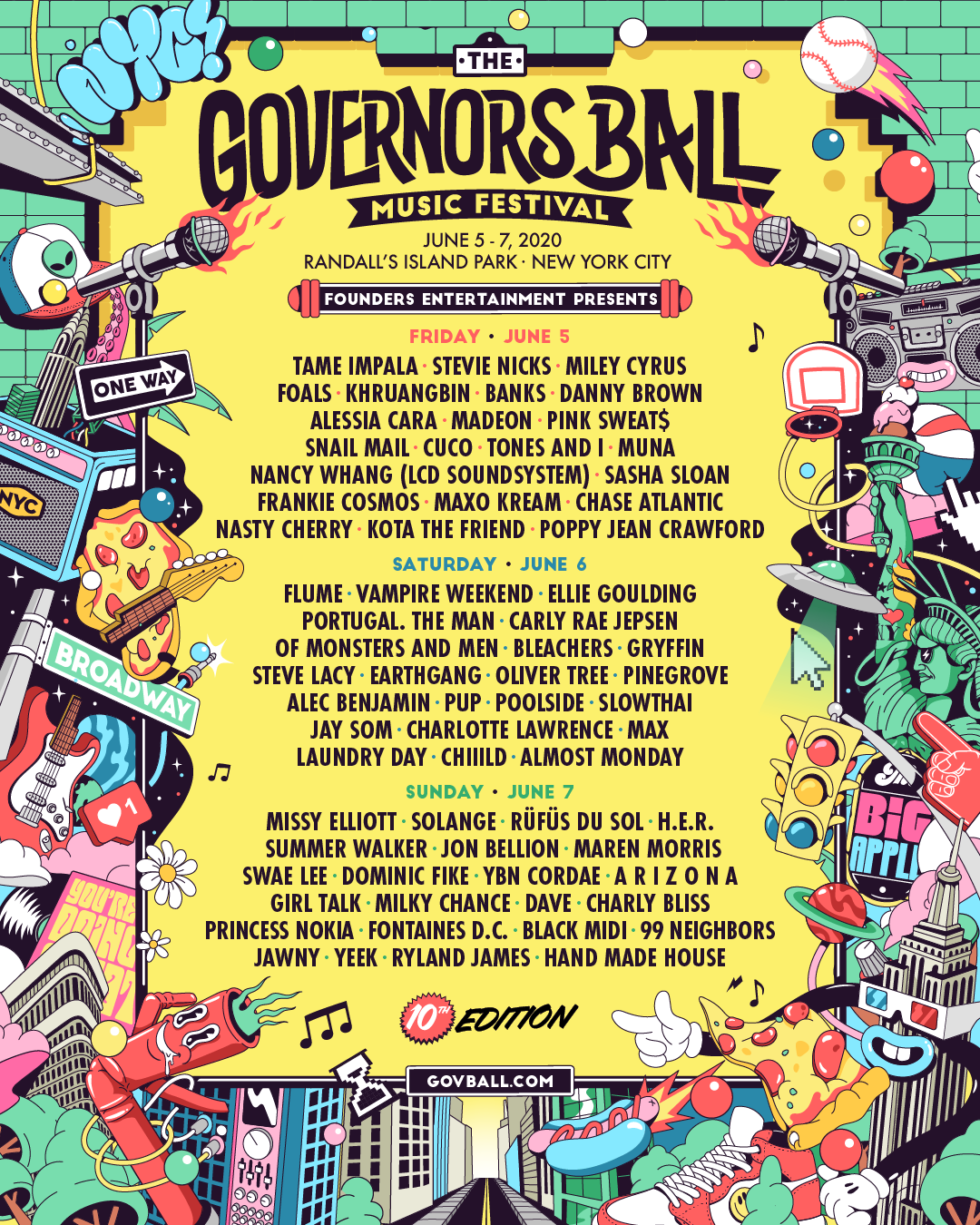 Founders Entertainment Presents New York City's Governors Ball Music Festival: 10th edition
